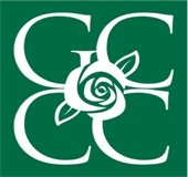 Green and white logo with GCCC and rose in center