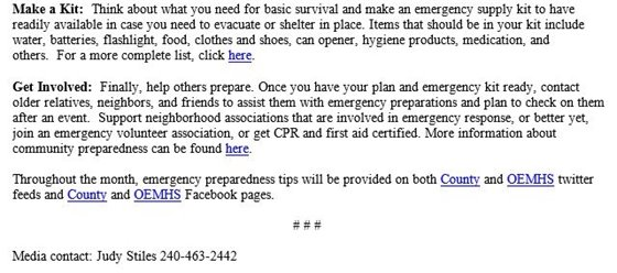 September is National Preparedness Month press release II