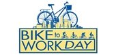 Light Yellow and Blue Logo with Bicycle, Bikers and City Skyline for Bike to Work Day