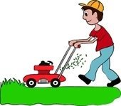 Cartoon of Man with Red Lawnmower Cutting Green Grass