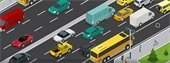 Animated Graphic of buses, cars and trucks on a busy highway.