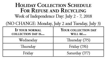 Table of Trash Pick-Up Schedule for July 4th Holiday