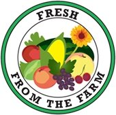 """Fresh from the Farm"" round graphic with produce"
