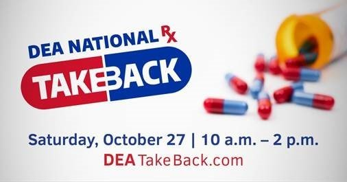 Dea National RX Takeback image with pills spilling out of pill bottle