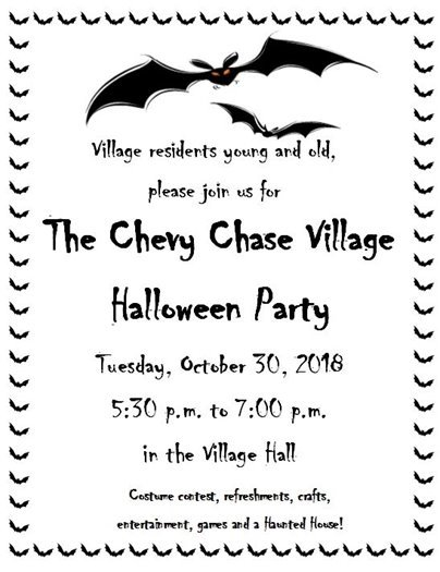 Chevy Chase Village Halloween Party Flyer with bats