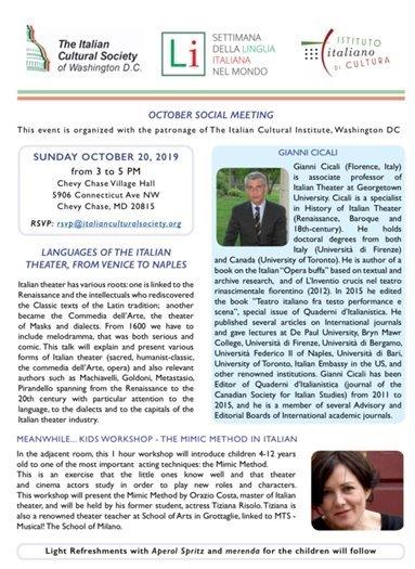Italian Cultural Society Social Meeting