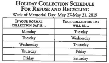 Holiday Collection Schedule for Refuse  Recycling chart May 2019