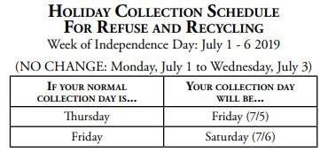 Holiday Collection Schedule for Refuse and Recycling chart