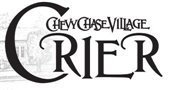 Chevy Chase Village Black and White Vintage Text Crier logo