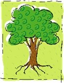 Green tree graphic with lime green background