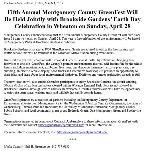 Fifth Annual Montgomery County GreenFest Press Release