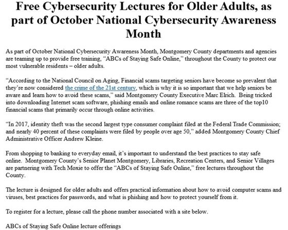 Free Cybersecurity Lectures for Older Adults, as part of October National Cybersecurity Awareness Month