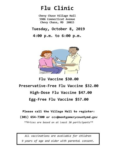 Flu Clinic flyer for Tuesday October 8, 2019