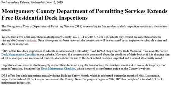 Montgomery County Department of Permitting Services Extends Free Residential Deck Inspections