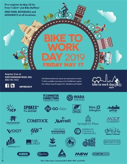 Bike to Work Day 2019 flyer blue with round logo and orange text