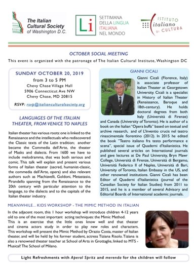 Italian Cultural Society Oct 20 2019 5pm at Chevy Chase Village Hall