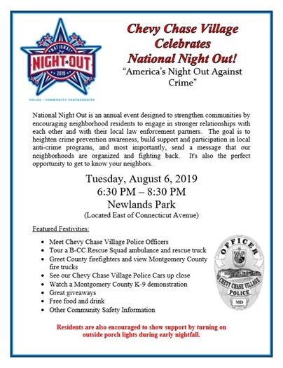 National Night Out Patriotic Flyer for Chevy Chase Village August 6, 2019