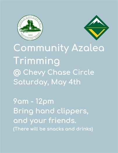 Light blue flyer for  Community Azalea Trimming May 4th