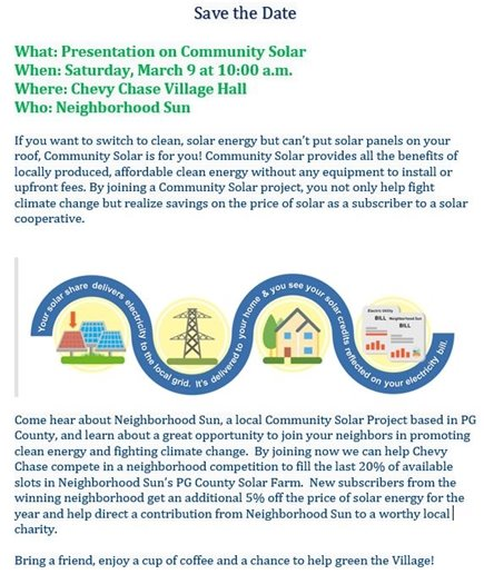 Save the Date Community Solar green and blue flyer