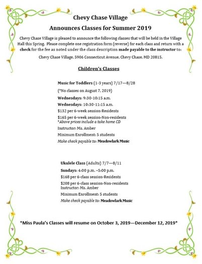 Chevy Chase Village Children's Class Flyer with Floral Border