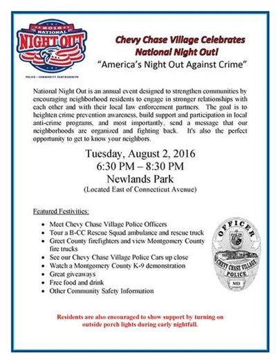 National Night Out - August 2, 6:30 p.m.
