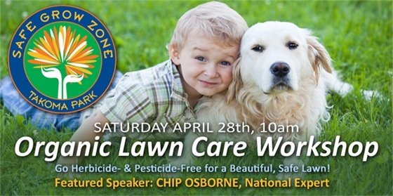 Organic Care Workshop photo of a child and dog laying in the grass.