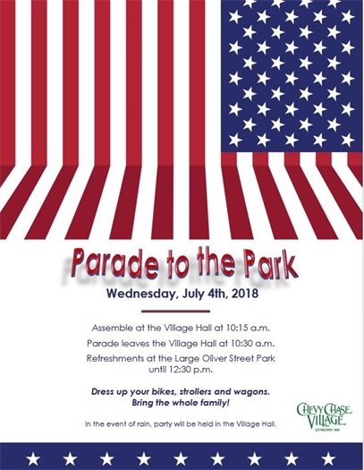 Patriotic  Red, White and Blue July 4th Flyer with American Flag