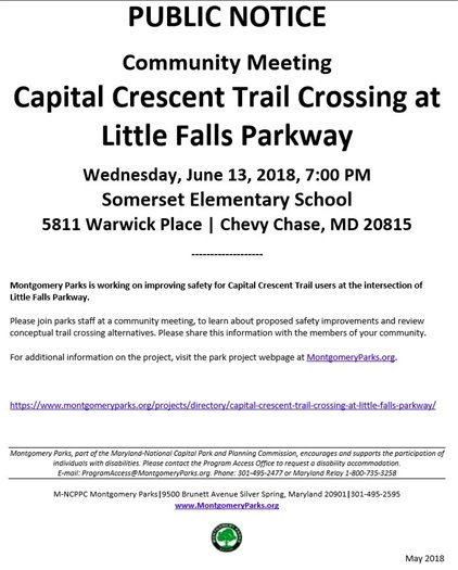 Parks Public Notice Document about Capital Crescent Trail Crossing