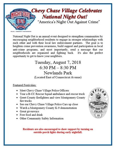 National Night Out Flyer with Patriotic Shield Logo