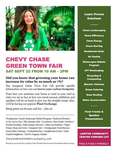 Chevy Chase Green Town Fair Flyer with Pink Font and Girl in Green T-Shirt