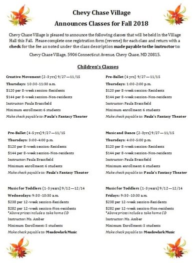 Schedule of Fall Classes for Children with Festive Orange Florals