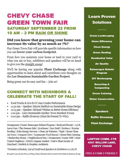 Chevy Chase Green Town Flyer with Pink Title