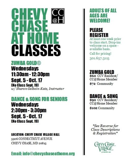 Chevy Chase at Home Green and White Flyer with Class Schedule