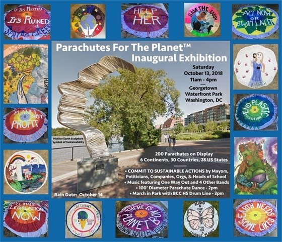 Colorful Postcard about Parachutes for the Planet