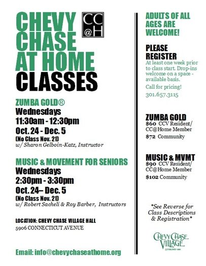Chevy Chase at Home Classes Black & Green flier for Oct - Dec