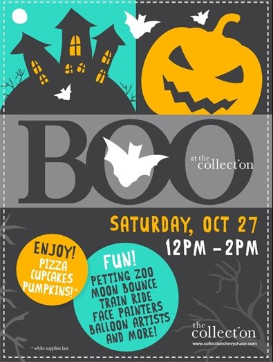 Halloween Flyer for the BOO at the Collection Event with Pumpkin Image
