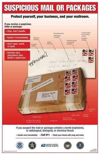 Suspicious mail or packages, protect yourself, your business, and your mailroom