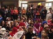 Children gathered to listen to judges for Halloween contest