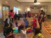 Children gathered at Halloween party