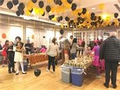 residents gathered at Halloween Party