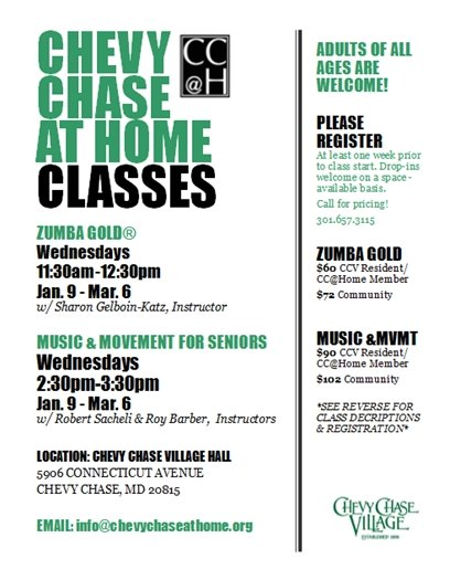 Chevy Chase@ Home winter 2019 Classes
