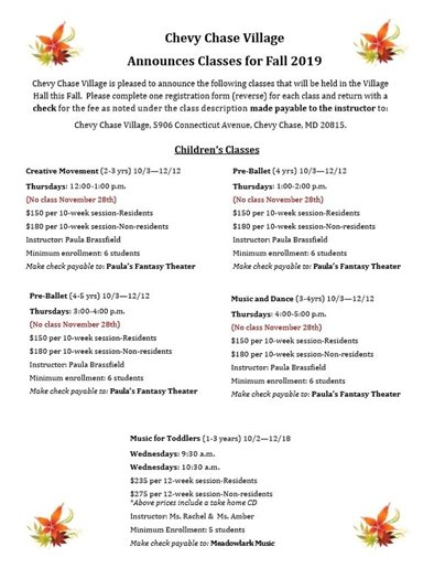 Chevy Chase Village Announces Fall Classes (For Children)
