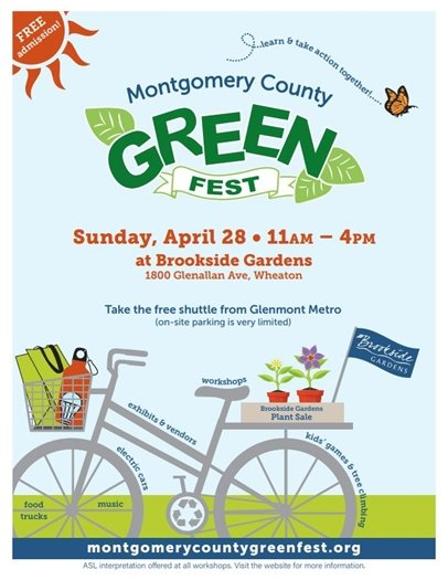 Montgomery County Green Fest April 28 colorfil flyer with butterfly, bike, leaves and bike