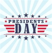 Patriotic graphic with stars and strips for Presidents' Day