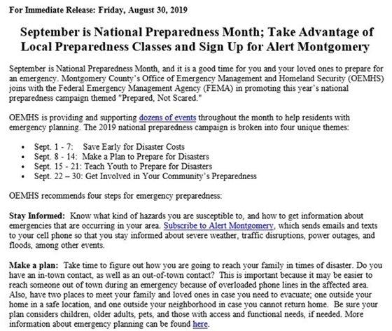 September is National Preparedness Month press release