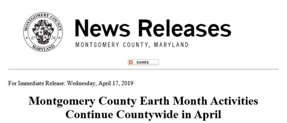 News Release with Montgomery County Seal about Earth Month