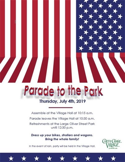 Flag flyer for July 4th Parade to the Park Event