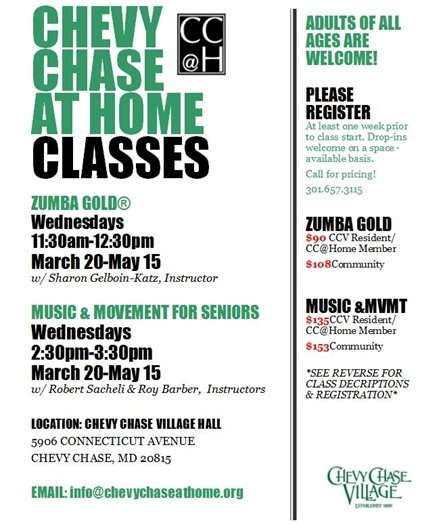 Chevy Chase at Home Classes March 20 to May 15