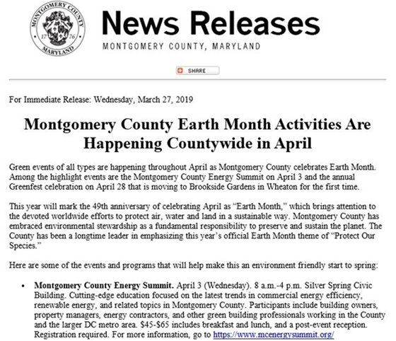 Montgomery County Earth Month Activities