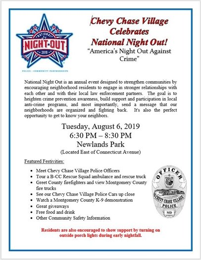 Chevy Chase Celebrates National Night Out